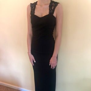 LONG BLACK DRESS with LACE